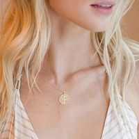 Womens Necklace Gift Ideas Bohemian Filigree Tree Of Life Necklace Set in 14K Rose Gold $16.00