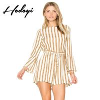 Must-have Vogue Simple Slimming Curvy Flare Sleeves High Waisted Tie Stripped Jumpsuit Short - Bonny YZOZO Boutique Store