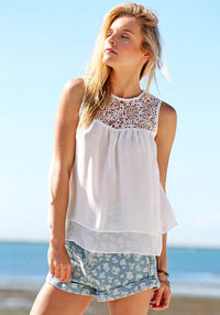 Double Layered Chiffon Top - White