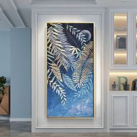 Abstract painting tree leaf gold art Original extra large wall art framed paintings on canvas blue painting wall pictures cuadros abstractos $161.25