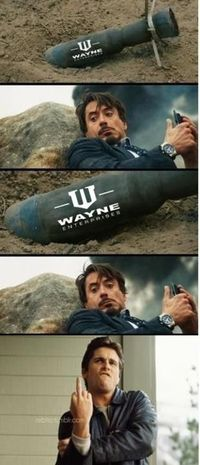 "Bruce Wayne Owning Tony Stark. LOL! I'm on ""Team Stark"" but this was just too funny!"