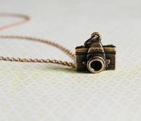"""Photographer Necklace $34.00 - Antique gold camera necklace. Gold chain chain 16"""". Gold lobster clasp. Made to order."""