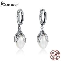BAMOER Authentic 925 Sterling Silver Blooming Flower Petal Freshwater Pearl Drop Earrings for Women Luxury Silver Jewelry SCE259 $28.00
