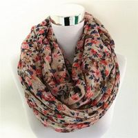 Small Rose Print Chevron Ring Scarves For Women's $12.91
