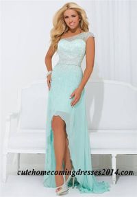 Beaded One Shoulder High Low Prom Dress Tony Bowls 114502
