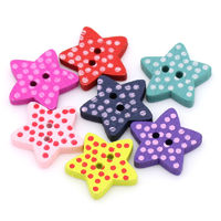 Pack of 100 Assorted Colours Wood Polka Dot Star Buttons. 15mm Wooden Clothing Accessory £7.99