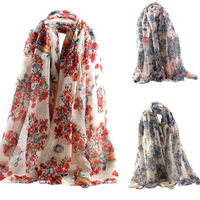 Women Long Scarf Shawl Silk Floral Printed Scarves Large Size 90*180cm $5.76