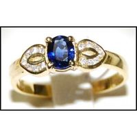 18K Yellow Gold Genuine Blue Sapphire Diamond Solitaire Ring [RS0016]