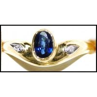 14KT Gold Ring with Rich Green Emerald Gemstone with Diamond Accompaniment. May Birthstone, Engagement Ring