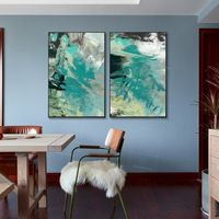 Framed painting Set of 2 wall art abstract paintings on canvas original blue green painting 2 piece wall art picture $176.50