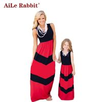 Family Matching Summer Fashion Outfits Rabbit Contrast Color Blue A-Line $29.91