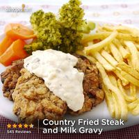 "Country Fried Steak and Milk Gravy | ""Finally! I've always loved country fried steak and gravy but could never make it without it turning tough like shoe leather. The magic happens with this recipe and it's as delicious as can be!"""