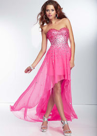 Pink Strapless Beading Low Front High Back Prom Dress In Trends