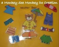 Weather Bear printables- I have a big weather bear already, but this would be cool as a busy bag or quiet book activity!