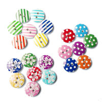 Pack of 100 Round Wooden Mixed Buttons. Flowers, Polka Dots and Stripes. Assorted Designs and Colours. £4.69