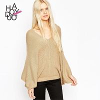 Must-have Vogue Batwing Sleeves V-neck Jersey One Color Fall Sweater - Bonny YZOZO Boutique Store
