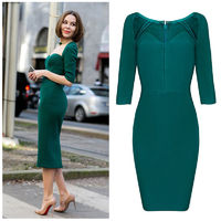 2015 new autumn fashion square collar half sleeves green wonmen party bandage formal winter dresses on sale