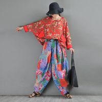 Retro red printed loose top, round neck bat sleeve pullover, ramie pullover shirt
