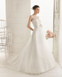 A Line Tank Top Chapel Train Wedding Dress