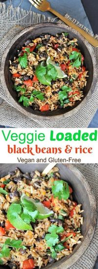 Savory and spicy black beans and rice, loaded with vegetables. This is a healthy, easy, quick, afordable, and delicious dinner recipe for the entire family.