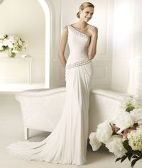 Elegant Sheath/Column One Shoulder Beading Sweep/Brush Train Chiffon Wedding Dresses - Dressesular.com
