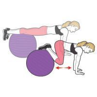 Grab a pair of dumbbells and position your upper back on a stability ball, knees bent 90 degrees, feet flat on the floor; hold the weights by your chest, elbows