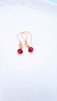 Gold Ruby Hook Earrings, Gift for Her, Family, Push Present, Birthday Gift, Ruby Anniversary Gift, Mother's Day Gift, I Love You Gift £26.00