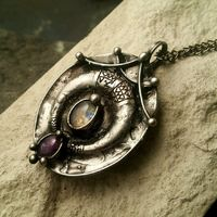 Brass pendant with crescent moon and natural stone- fluorite and moonstone, ethnic pendant, diy boho jewelry $43.00