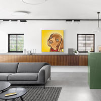 Puppy Paintings On Canvas art dog yellow and brown animal painting abstract acrylic original large wall art framed painting $93.75
