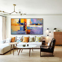 Abstract painting blue yellow color painting on canvas art huge size acrylic Painting Wall Art Pictures for living room home decor caudros $89.00