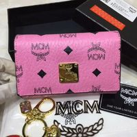 MCM Heritage Visetos Trifold Leather Wallet In Pink
