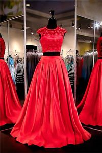 A Line Cap Sleeve Two Piece Long Red Taffeta Tulle Beaded Pearl Prom Dress