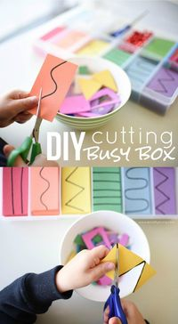 Create an inexpensive, no prep Cutting Busy Box for Toddlers & Preschoolers! Developing important Scissor Skills with these simple tips & tricks!
