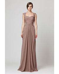 Bridesmaids dresses and styles in brown.