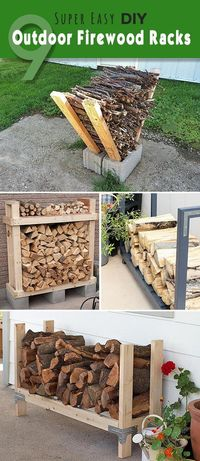 Check out these super easy DIY outdoor firewood racks. You can store your wood clean and dry and it allows you to buy wood in bulk, saving you money. Learn how