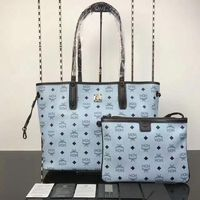 MCM Medium Reversible Visetos Galaxy Shopper Tote In Washed Blue