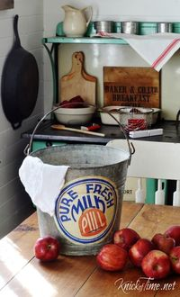 DIY Farmhouse Decoupaged Galvanized Bucket. Tutorial and loads of free antique milk cap image printables at Knick of Time.