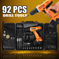 92Pcs 18V Electric Drill Cordless Drill Driver Power Drills Tool Accessory Set With Box