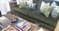 Amber Interior Design | green sofa, LOVE the pillow combination
