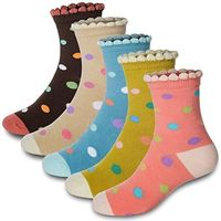 Girls Socks Toddlers Little Girls Seamless Cute Dots Colorful Ultra Soft Cotton Fashion Crew Socks 5 Pairs Pack $11.99