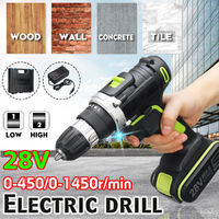 28V Electric Cordless Rechargeable Drill Power Screwdriver 15 Torque Driver