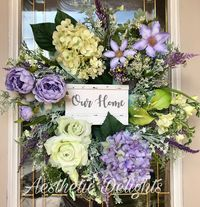 Our Home Wreath- Wreath- Spring Wreath- Front Door Wreath- Floral Wreath- Mantel Wreath- $160.00