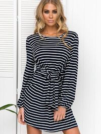 Stripe Round Neck Slouchy Mini Dress $24.99