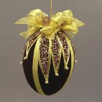 "Plum Purple Velvet Egg Victorian Inspired Christmas Ornament - Handmade with Cut Glass Bugle Bead ""Glitter"""