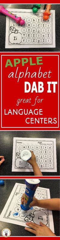 My kids love working with bingo markers! I know your preschool or kindergarten students will love working with these fun and educational apple themed alphabet dab it no prep printables. Your children will enjoy working on uppercase and lowercase letter re...