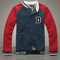 Cheap Men's Letter D Blue Red Cotton Varsity Jackets Online Store