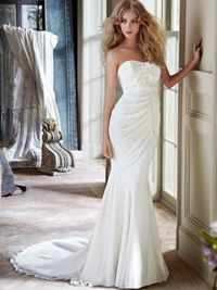 Floor Length Slim Lace Wedding Dress With Draped Overlay And Flower Accented Bodice