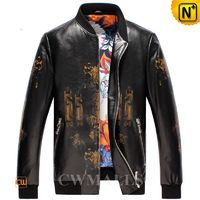 Custom Leather Jacket & Leather Shoes | Los Angeles Men's Printed Leather Baseball Jacket CW806059 | CWMALLS®