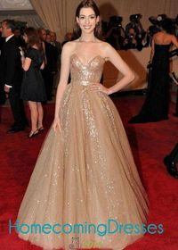 Gold Sequined Strapless Sweetheart Anne Hathaway Tulle Nude Ball Gown
