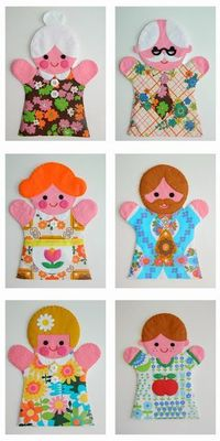 Cheerful people hand puppets super cute retro kitsch vintage 50's , 60's inspired childrens felt hand puppet designs to make